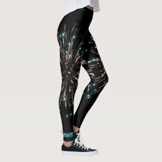 Green and Gold Independence Day Fireworks Leggings