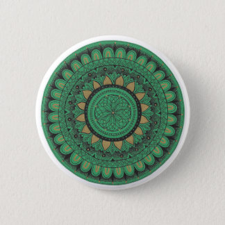 Green and Gold Mandala 6 Cm Round Badge