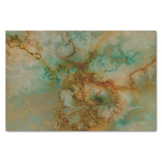 Green and Gold Marble Tissue Paper