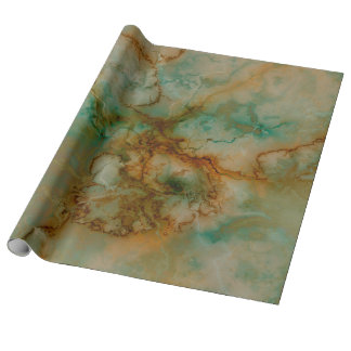 Green and Gold Marble Wrapping Paper