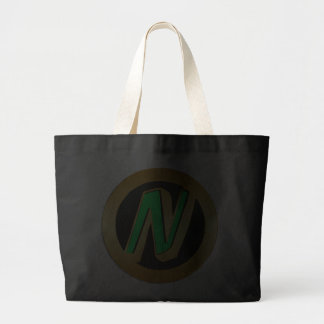 GREEN AND GOLD MONOGRAM LETTER N CANVAS BAGS