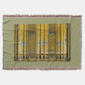 Green and gold organ pipes throw blanket
