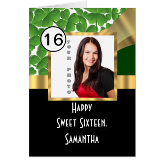Green and gold personalized sweet sixteen greeting card