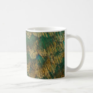 Green And Gold Pheasant Feathers Coffee Mug