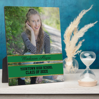 Green and Gold Photo Graduation Plaque