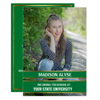 Green and Gold Photo Trunk Party Card