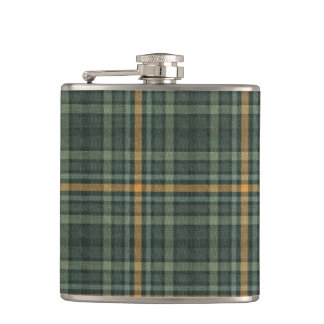 Green and Gold Plaid Hip Flask