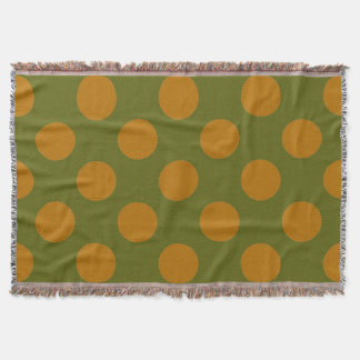Green and Gold Polkadots Throw Blanket