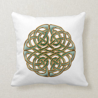 Green and gold round celtic knot cushions