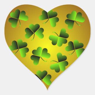 Green and Gold Shamrock Heart Sticker