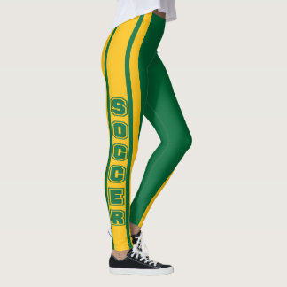 Green and Gold Soccer Jersey  Stripe Design Leggings