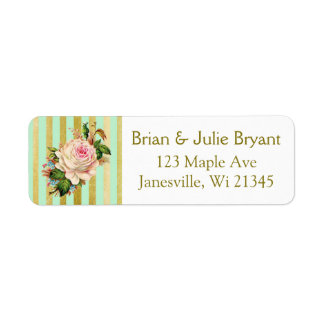 Green and Gold Striped Return Address Label