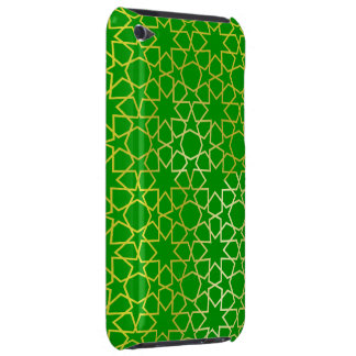 Green and Gold Stylish Star Geometric pattern Barely There iPod Case