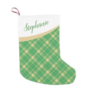 Green and Gold Tartan Plaid Christmas Small Christmas Stocking