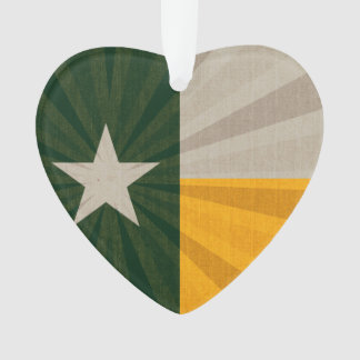 Green and Gold Texas Flag Burst Fabric