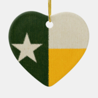Green and Gold Texas Flag Fabric Ceramic Heart Decoration