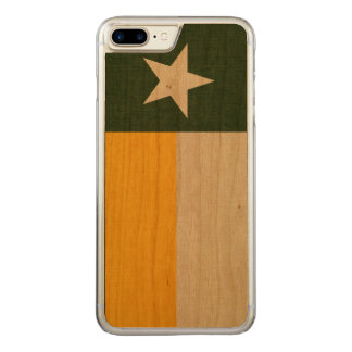 Green and Gold Texas Flag on Fabric Carved iPhone 7 Plus Case