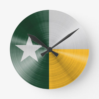 Green and Gold Texas Flag Radial Brushed Round Clock