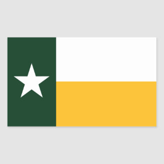 Green and Gold Texas Flag Rectangular Stickers