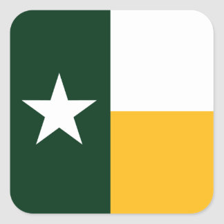 Green and Gold Texas Flag Square Sticker