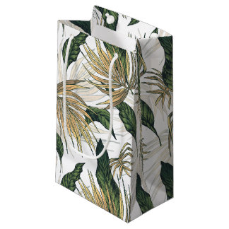 Green and Gold  Tropical Leaves Small Gift Bag