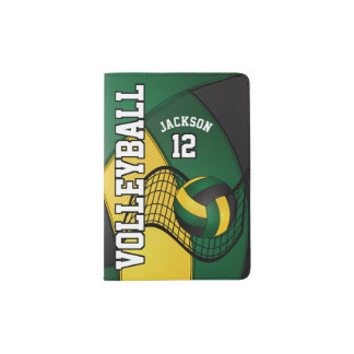 Green and Gold Volleyball Design   Personalize Passport Holder