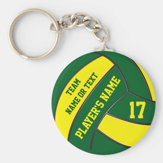 Green and Gold Volleyball Keychains PERSONALIZED