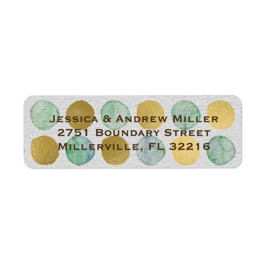 Green and Gold Watercolor Dots Return Address