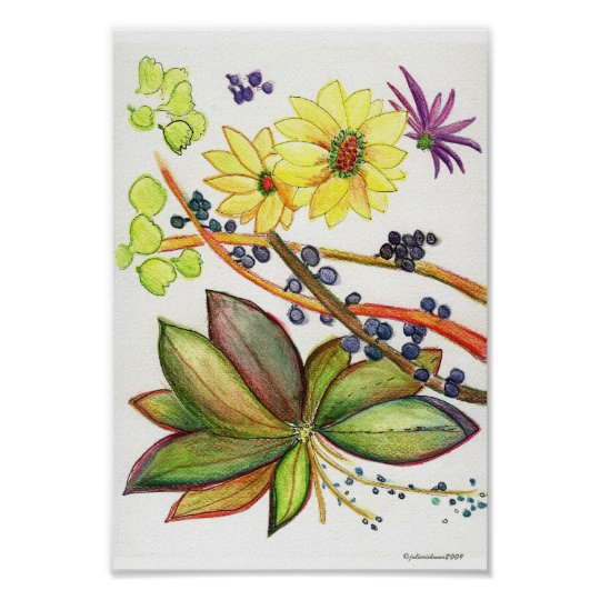 Green and golden flower group poster