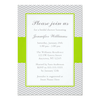 Green and Gray Chevron Bridal Shower Card