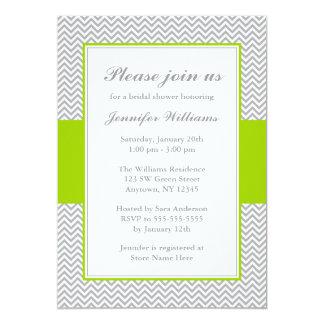 Green and Gray Chevron Bridal Shower 13 Cm X 18 Cm Invitation Card