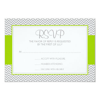 Green and Gray Chevron Response Card 9 Cm X 13 Cm Invitation Card