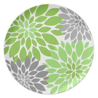 Green and Gray Chrysanthemums Floral Pattern Dinner Plates