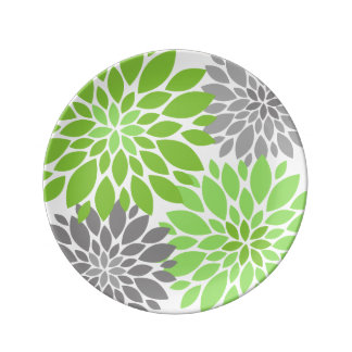 Green and Gray Chrysanthemums Floral Pattern Porcelain Plates