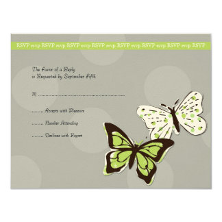 Green and Gray Cool Butterfly Wedding RSVP 11 Cm X 14 Cm Invitation Card