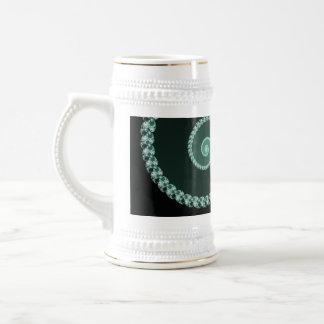 Green and Gray Fractal Spiral Mugs