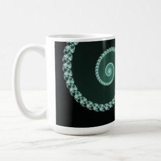 Green and Gray Fractal Spiral Coffee Mug