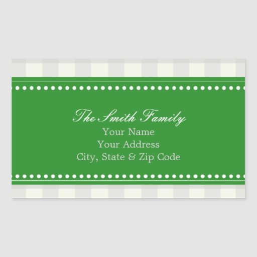 Green and Gray Gingham Address Stickers