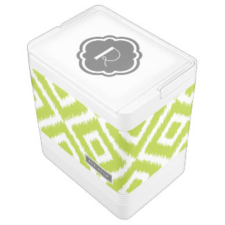 Green and Gray Ikat Diamonds Monogram Igloo Cool Box