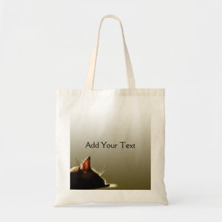 Green and Grey Cat Nap Budget Tote Bag
