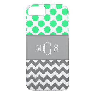 Green and Grey, Chevron, Polka Dots iPhone 7 case