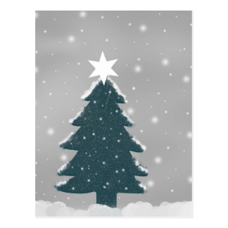Green and Grey Snowing Christmas Tree Postcard
