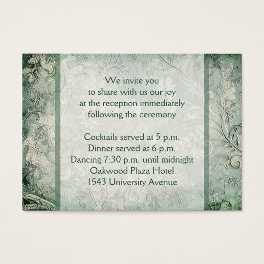 Green and Ivory Floral Reception Enclosure Card