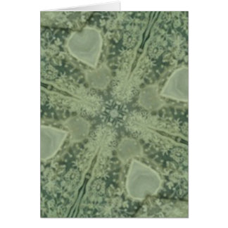 Green and ivory kaleidoscope greeting card