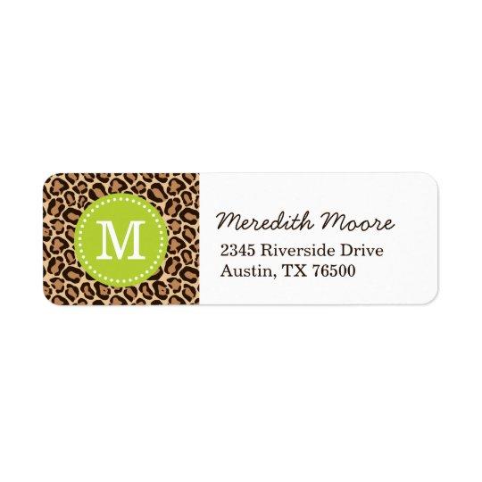 Green and Leopard Print Custom Monogram