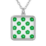 Green and Light Blue Soccer Ball Pattern Square Pendant Necklace