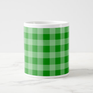 Green and Light Green Gingham Pattern Large Coffee Mug