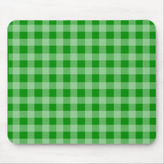 Green and Light Green Gingham Pattern Mouse Mat