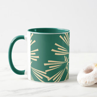 Green and Light Yellow Abstract Pattern Coffee Mug