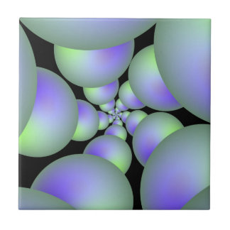 Green and Lilac Sphere Spiral tile